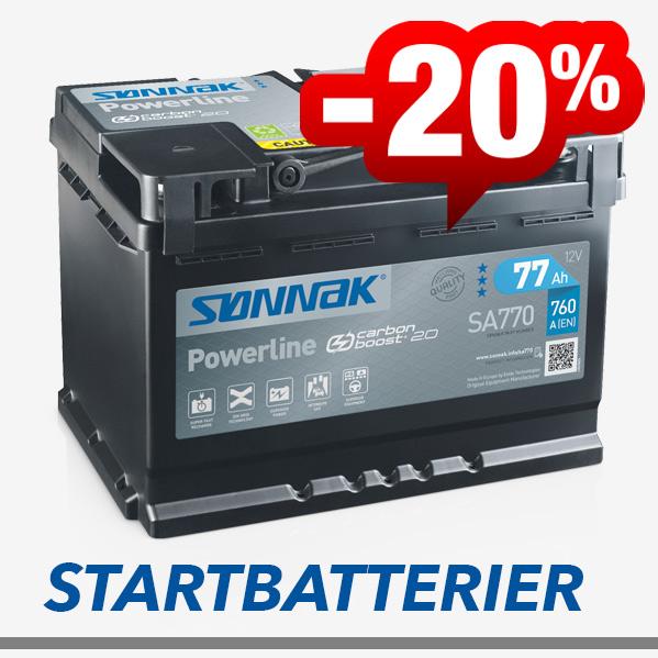 20% rabatt på startbatteri
