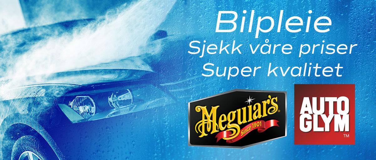 Bilde av en bil som blir vasket med teksten: Bilpleie sjekk våre priser, super kvalitet fra Meguiars og AutoGlym