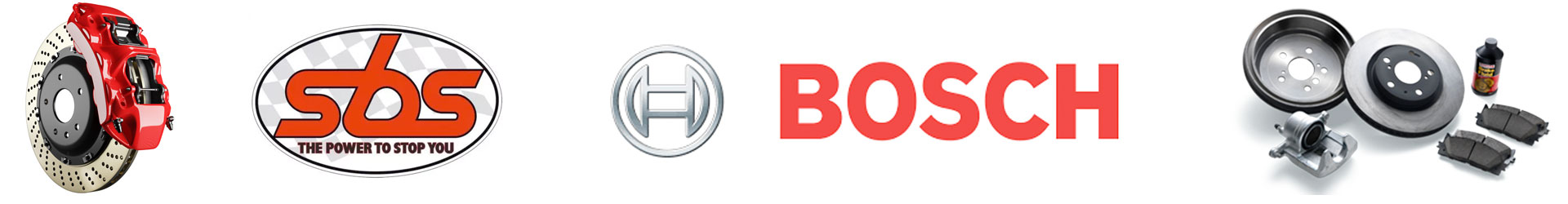 Bilde av bremser på bil, logo obs og Bosch
