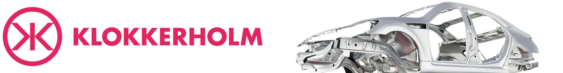 Klokkerholm karosseri logo samt bilde av bil chassi