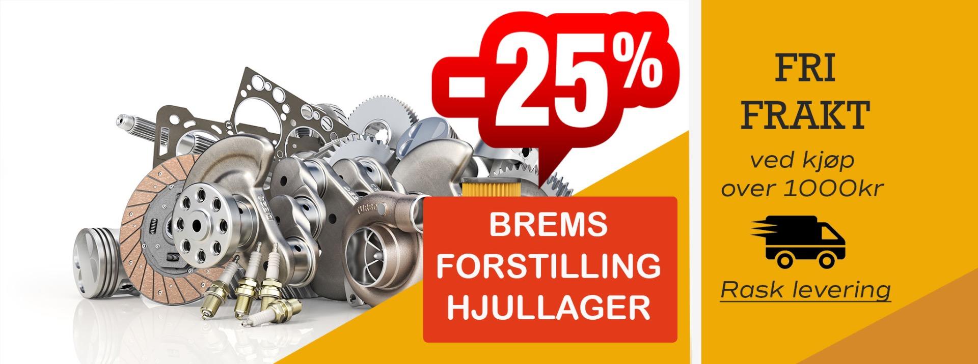 Banner med info om fri frakt på Norgesdel samt 25 % på masse deler