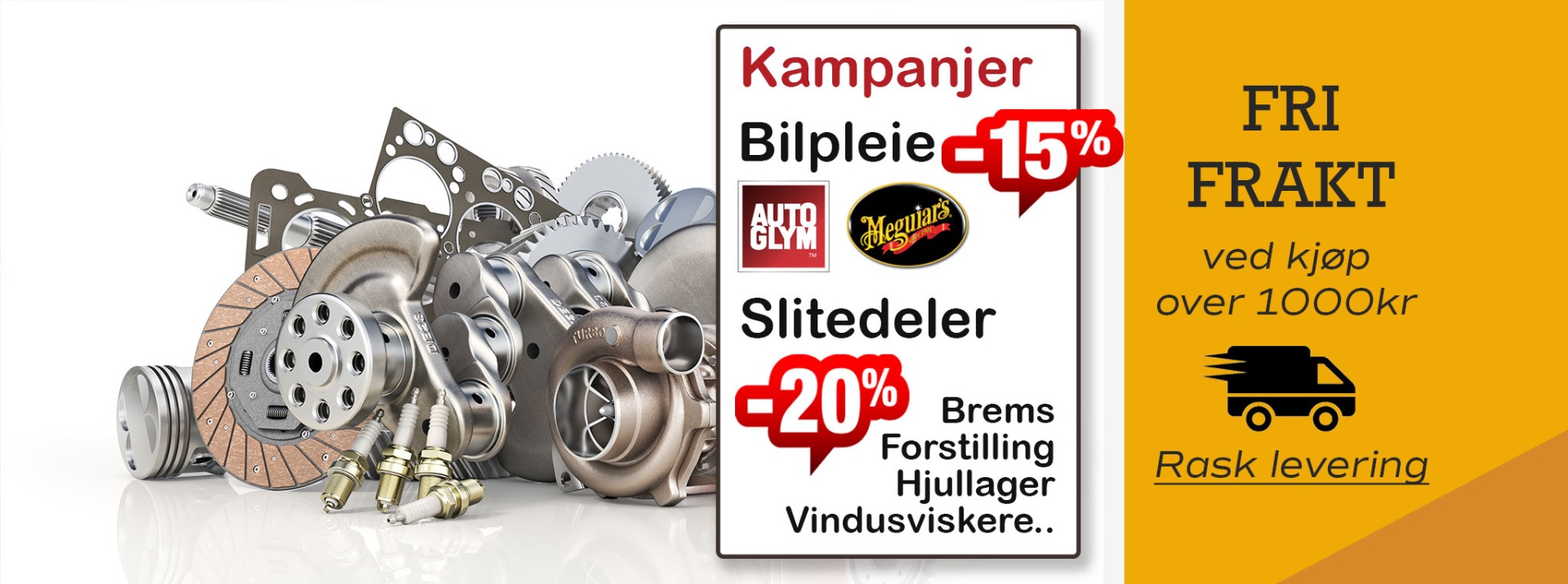 Banner med info om fri frakt på Norgesdel samt Gode tilbud for ferieklar bil